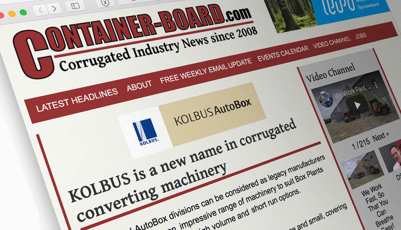 Industry news and information site Container-Board.com spreads the word about KOLBUS AutoBox