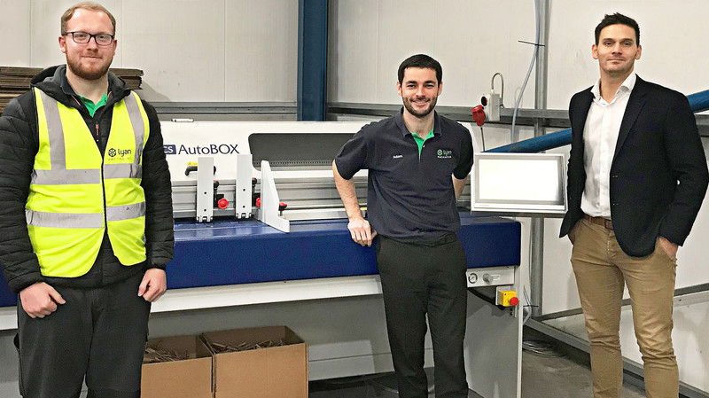 Andrew Lucy (left), Adam Jones (centre) of Autobox with Arran Sethi (right) from Kolbus UK at the new Lyan Packaging installation.